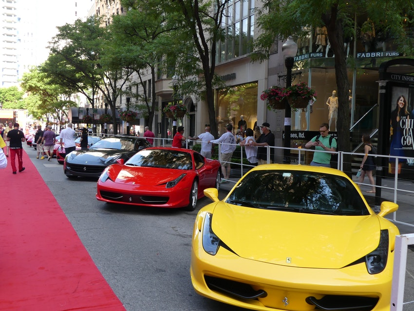 This yellow Ferrari popped out in front is a great show case piece for all of the Ferraris on Oak Street.