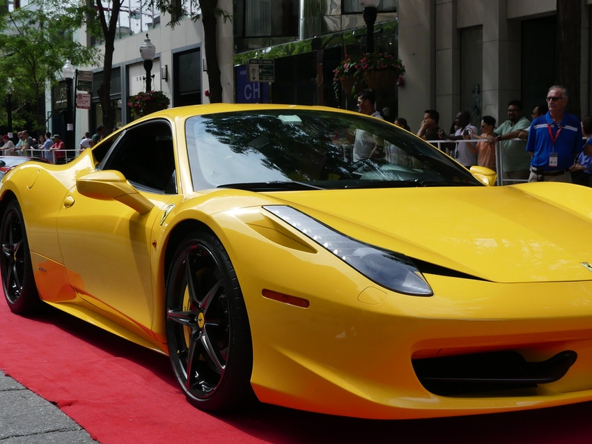 Uniquely colored Ferraris were also on display for Ferraris on Oak street, just like this bright yellow car.