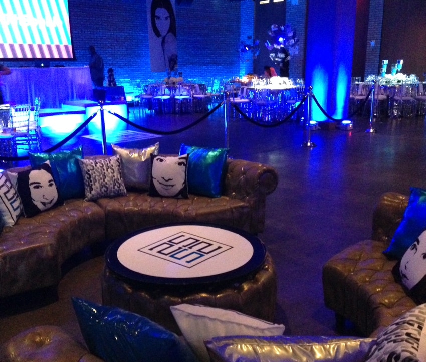 Custom pillows and table top