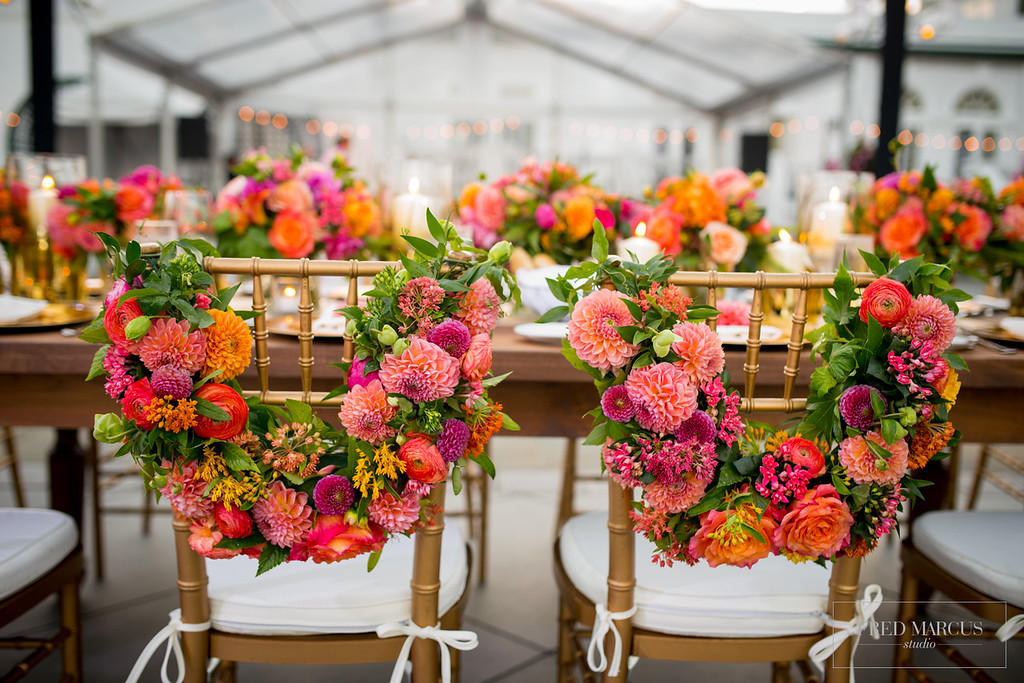 Coral & Gold Country Club Wedding - Leslie Mastin Events